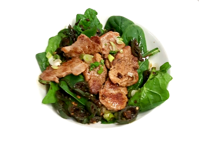 Ginger Marinated Pork With Spring Onions and Baby Spinach