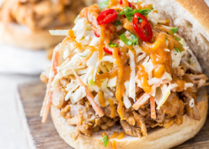 Pulled Chicken Sandwich with Homemade Apple BBQ sauce