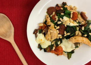 Cheesy Chorizo, Chicken and Spinach