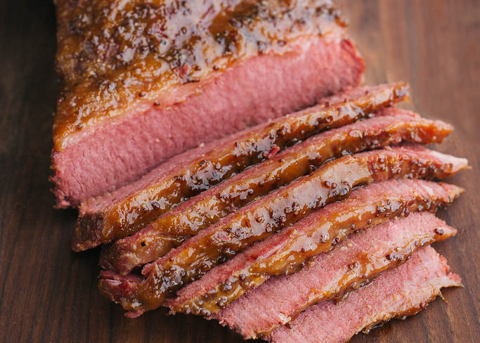 Beer Braised Corned Beef With Whiskey Mustard Glaze